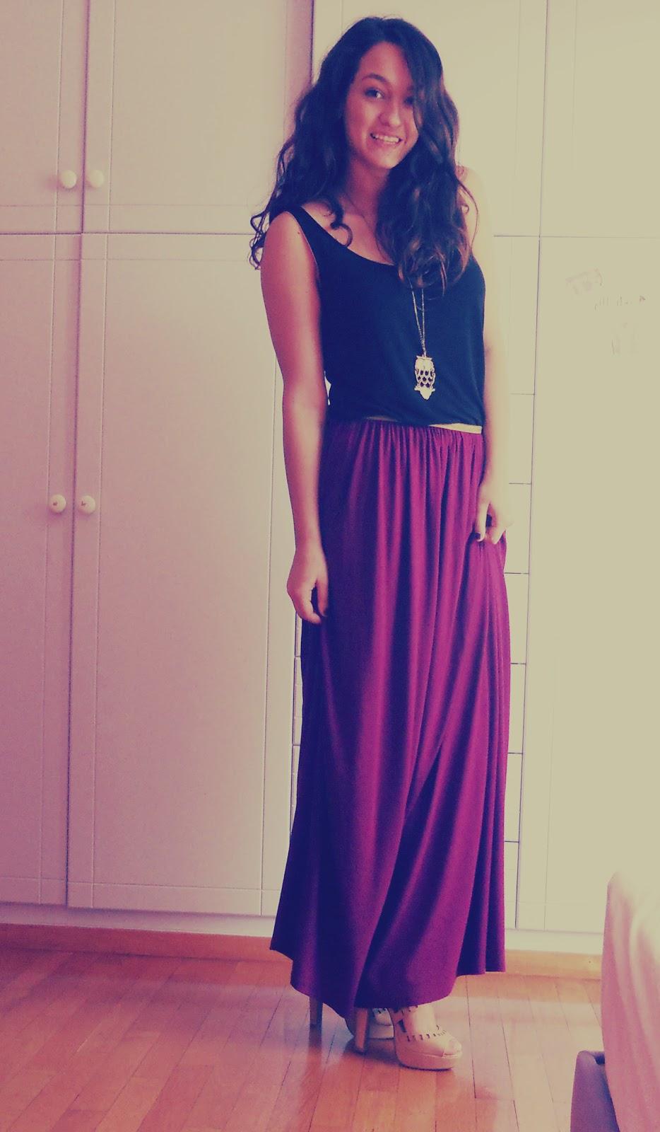 purple maxi skirt vicofashion