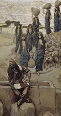 Moses, Zipporah and her sisters by James Tissot