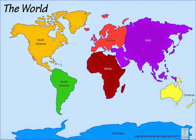 Printable map of the 7 continents with labelled in a different color.