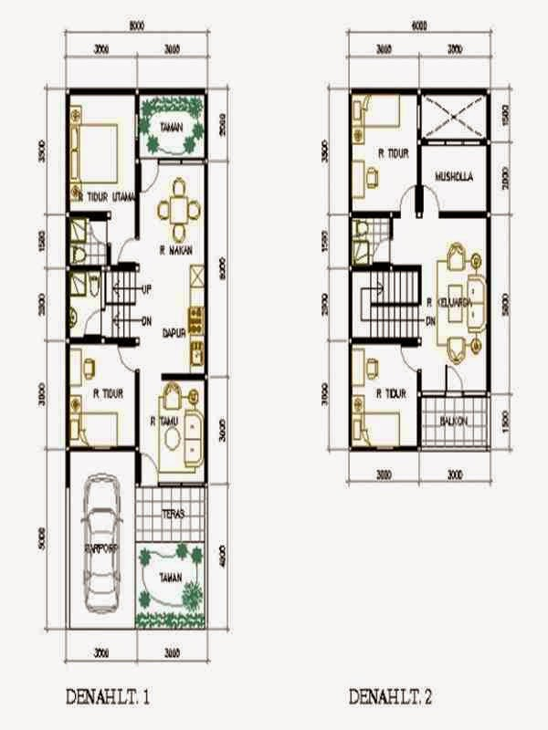 Desain Rumah Ukuran 6x15 3 Kamar