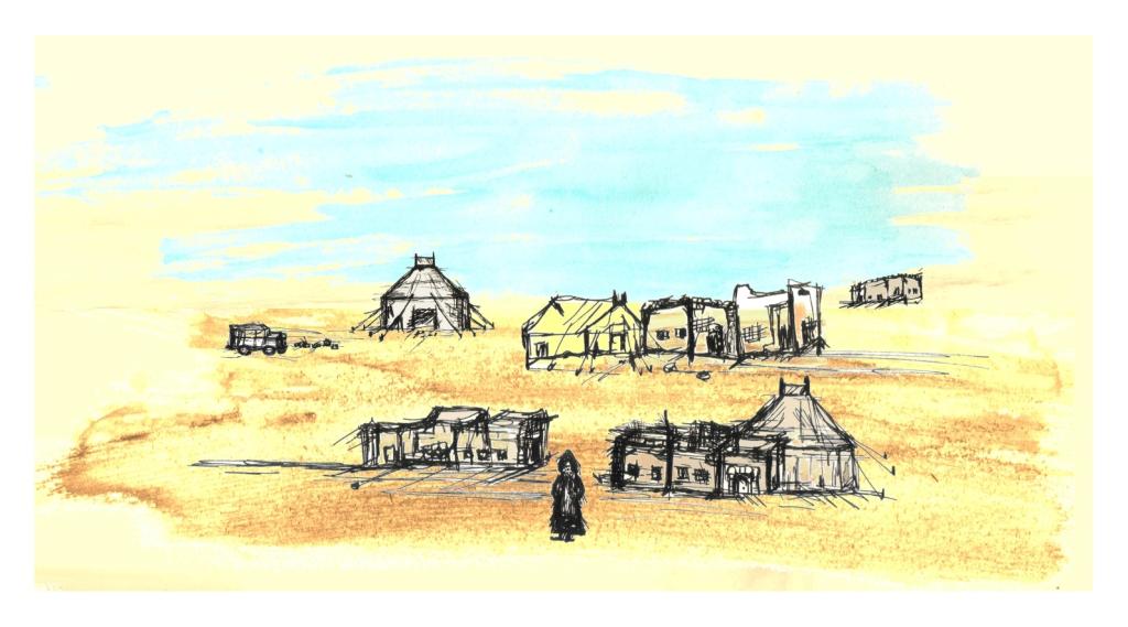 dibuix sahara, dibujo campo refugiados