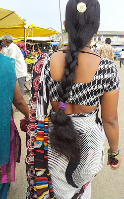South Indian aunt with healthy long hair.