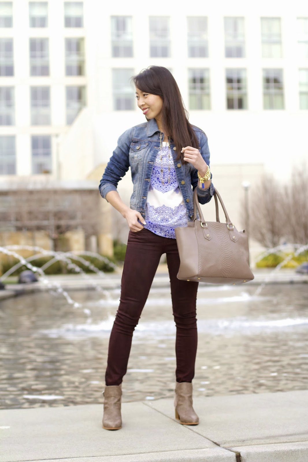 Taupe Booties & Purse. Outfit Details - Connnietang: Taupe Booties & Purse
