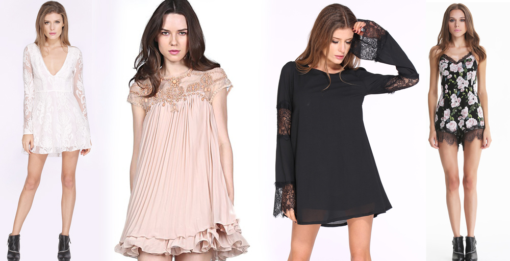 Lace dresses, shift dresses, and floral rompers from SheInside.