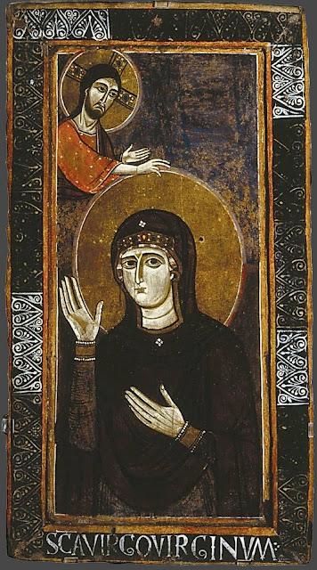 Ιταλικό αντίγραφο του 11ου αιώνα της Παναγίας Αγιοσορίτισσας. Διαστάσεις 57,5 Χ 107 εκ. Σήμερα βρίσκεται στο μουσείο: Galleria Nazionale d'Arte Antica, Galleria Barberini, Ρώμη.