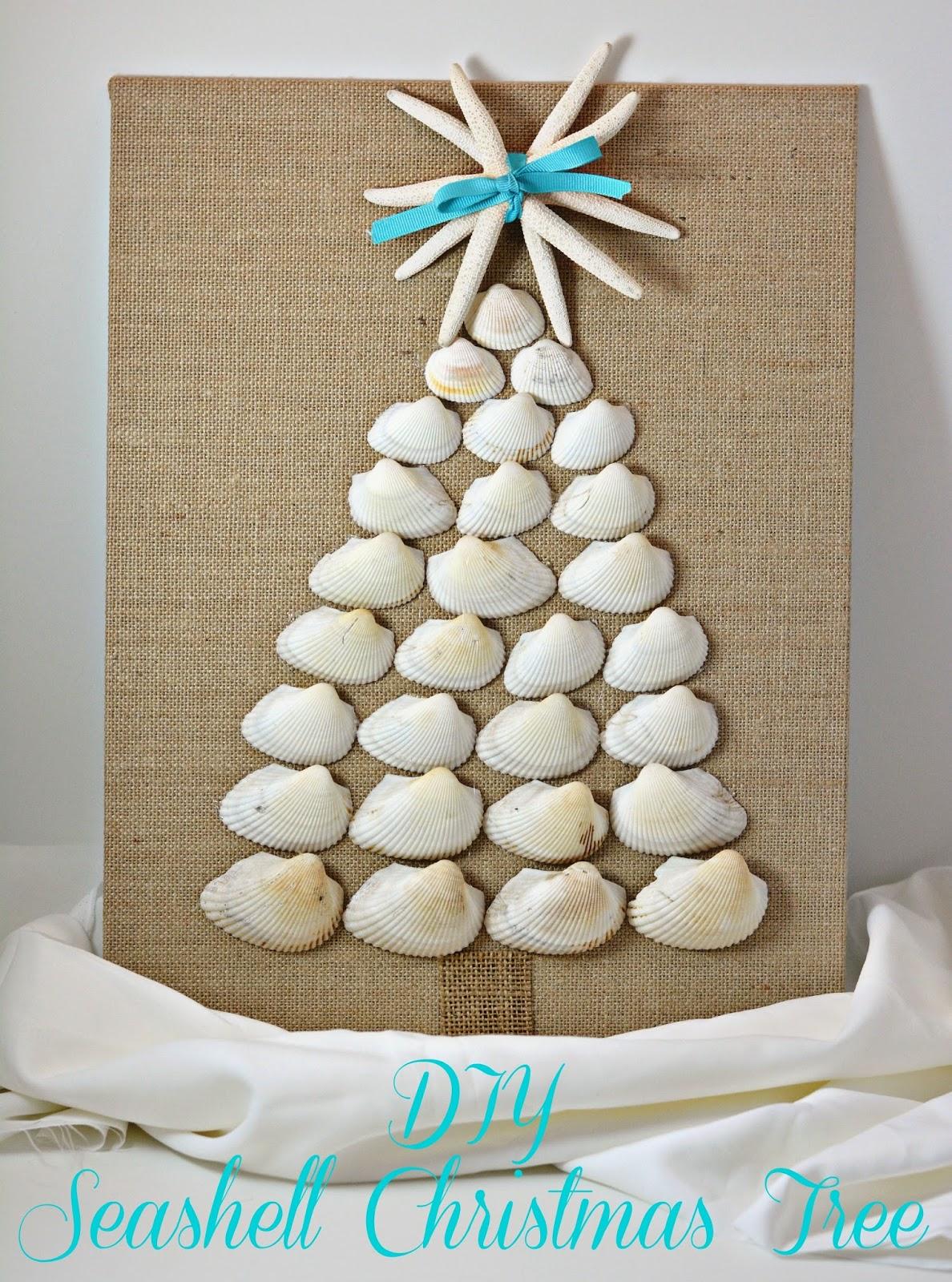 Life With 4 Boys: DIY Seashell Christmas Tree Canvas Board #Crafts