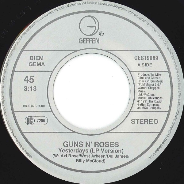 November rain single vinyl November rain single - Guns N Roses Albumy Guns N Roses Single Guns N Roses.