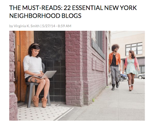 Named one of the Essential NYC neighborhood blogs 2014