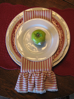 Red and White Ticking Napkins