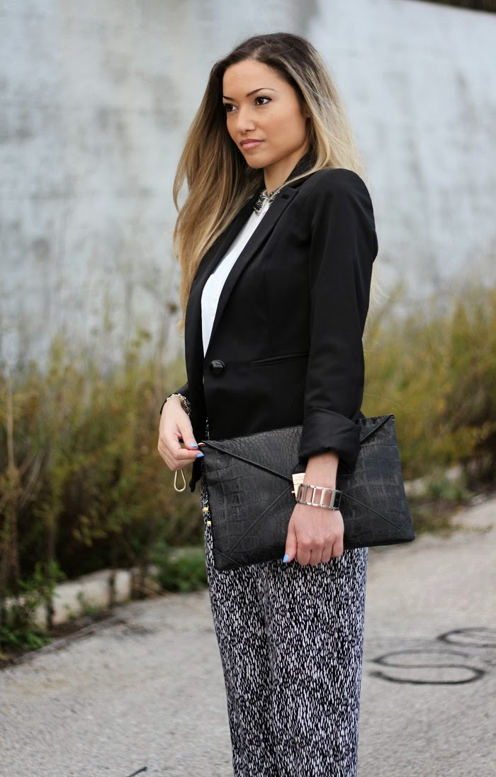 black and white clutch animal print look do dia blog de moda style statement tendências outono inverno 2013 2014 moda fashion blogger