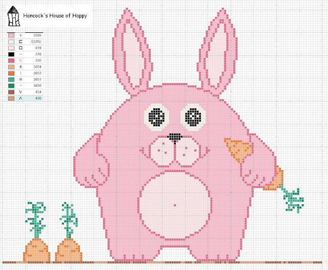 free happy easter bunny cross stitch chart. right click and save as.