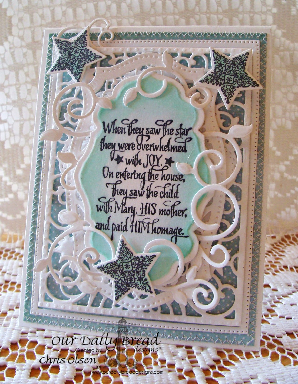 Our Daily Bread Designs, Come Let Us adore Him, His Birth, Sparkling Star dies, Flourished Star Pattern dies, Antique Labels dies, Christmas paper collection 2014, Designer-Chris Olsen