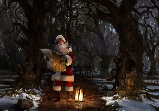 Santa Claus, cool digital art,scary forest