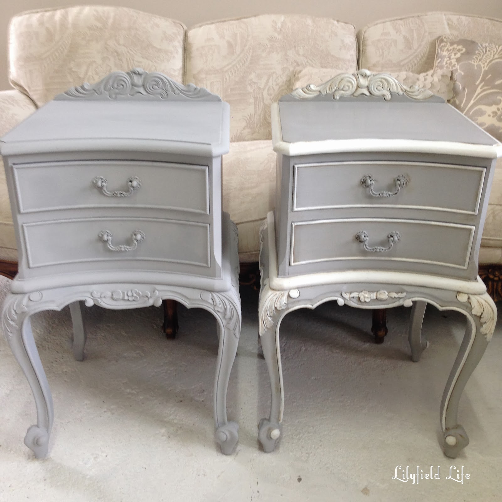 Painting Ornate Details   Antique French Bedside Tables
