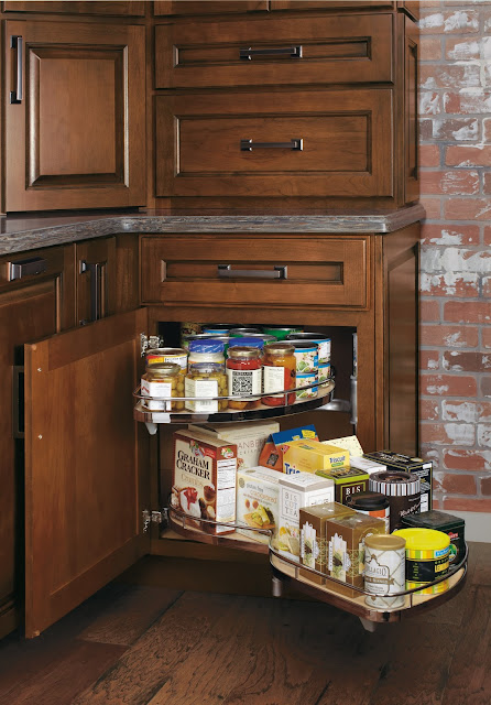 Corner Cupboard with pull outs :: OrganizingMadeFun.com
