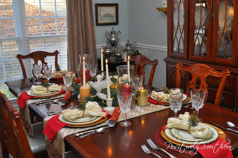 Positively Southern The Dining Room Dressed For Christmas