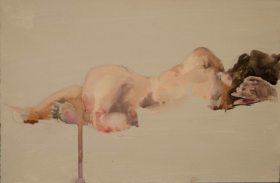 Reclining nude, life drawing, gouache on paper, Shannon Reynolds