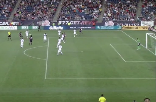 New England player Lee Nguyen shoots to score from long range against Vancouver Whitecaps