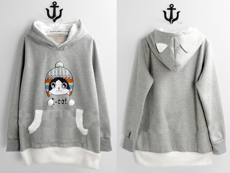 model sweater hoodie korea wanita lucu abu abu