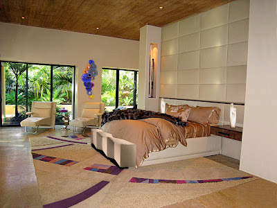 this luxurious bedroom design have wide space and combined in calm and striking colors