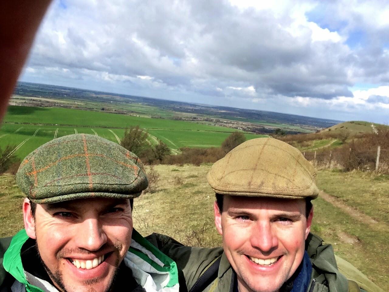 Mark and Simon training hike near Ivinghoe Beacon