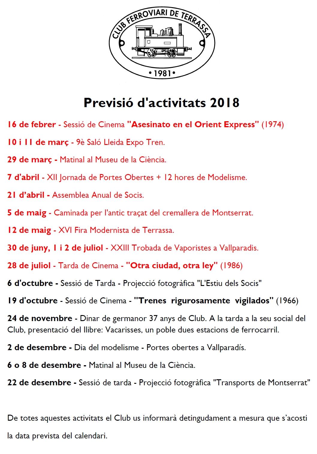 Previsió d'activitats - Actualització 18-SET-2018