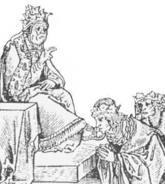 Poddani papieza caluja jego stopy; Chrystus myl ich nogi