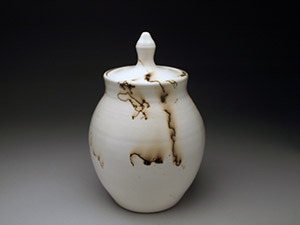 Horse Hair Raku Lidded Jar