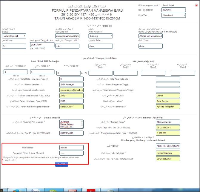 Daftar online Ar-raayah