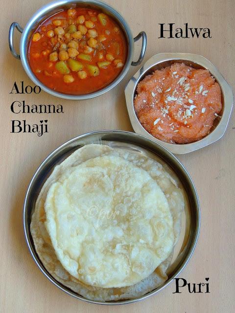 Aloo channa bhaji,Halwa,Puri