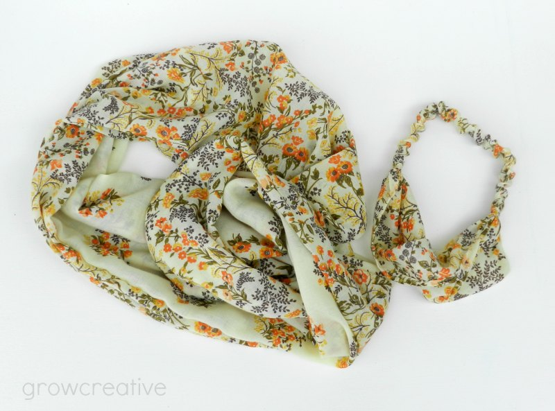 Floral Infinity Scarf and Headband made from a thrifted dress: growcreative.blogspot.com
