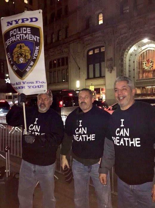 NYPD backers counter-demonstrate at an anti-police brutality rally:  were they members of the NYPD?
