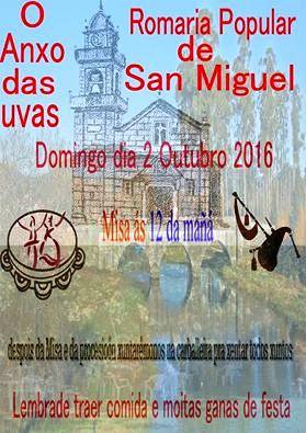 SAN MIGUEL DE TABAGÓN: DOMINGO DÍA 2 DE OUTUBRO, ROMARÍA POPULAR DE SAN MIGUEL, O ANXO DAS UVAS.