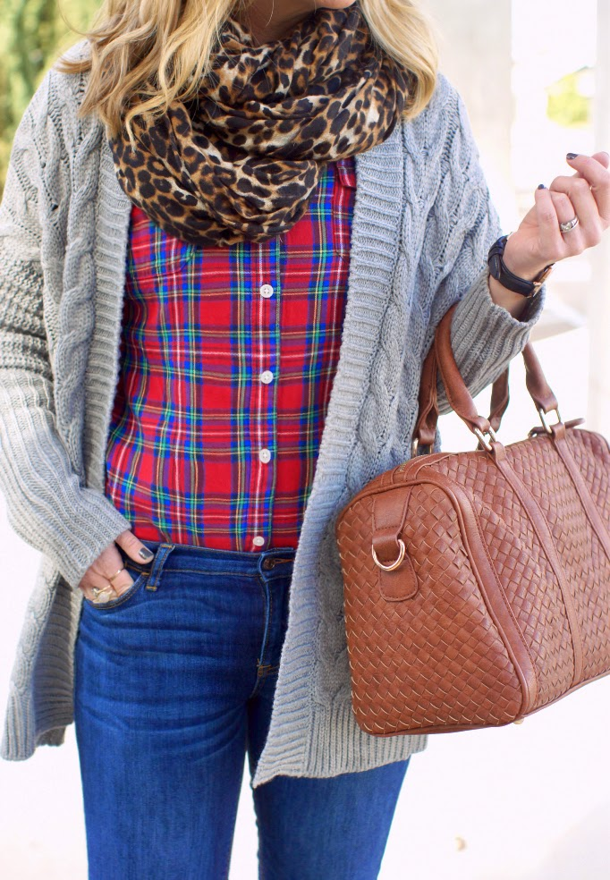 plaid and leopard pattern print mixing