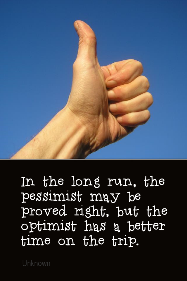 visual quote - image quotation for OPTIMISM - In the long run, the pessimist may be proved right, but the optimist has a better time on the trip. - Unknown