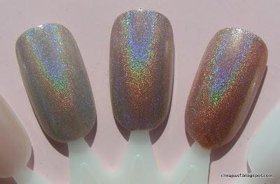Holo topcoat over e.l.f. Desert Haze; Color Club Cherubic; holo topcoat over e.l.f. Copper