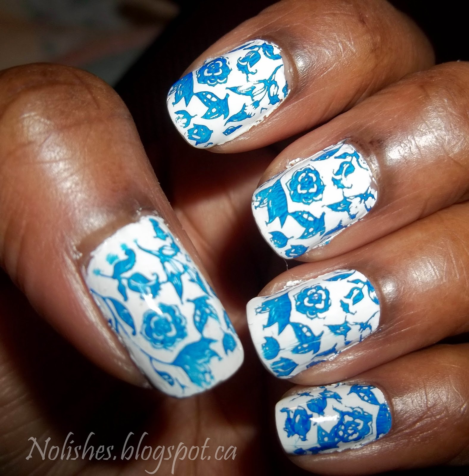 Blue and White Porcelain Nail Stamping Manicure, using Moyou London Pro Collection Plate 07. Polishes used: NYC 'French White Tip', stamped with Maybelline Color Show 'Midnight Blue'.