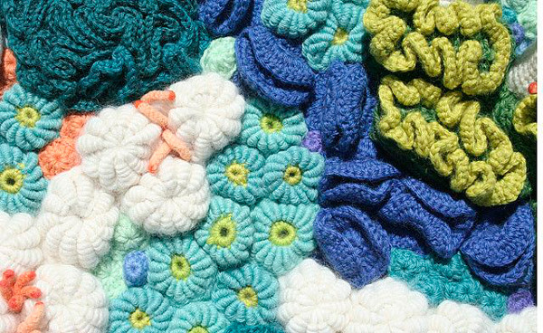 crochet art, crocheted reef by Helle Jorgensen