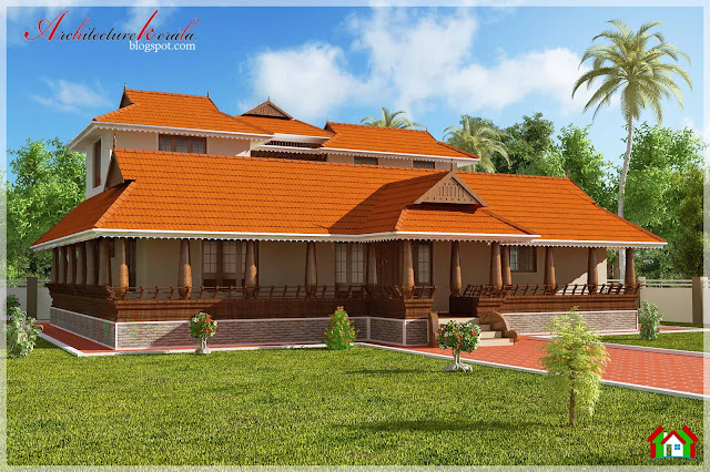 Nalukettu style kerala house elevation architecture kerala for Veedu models of kerala