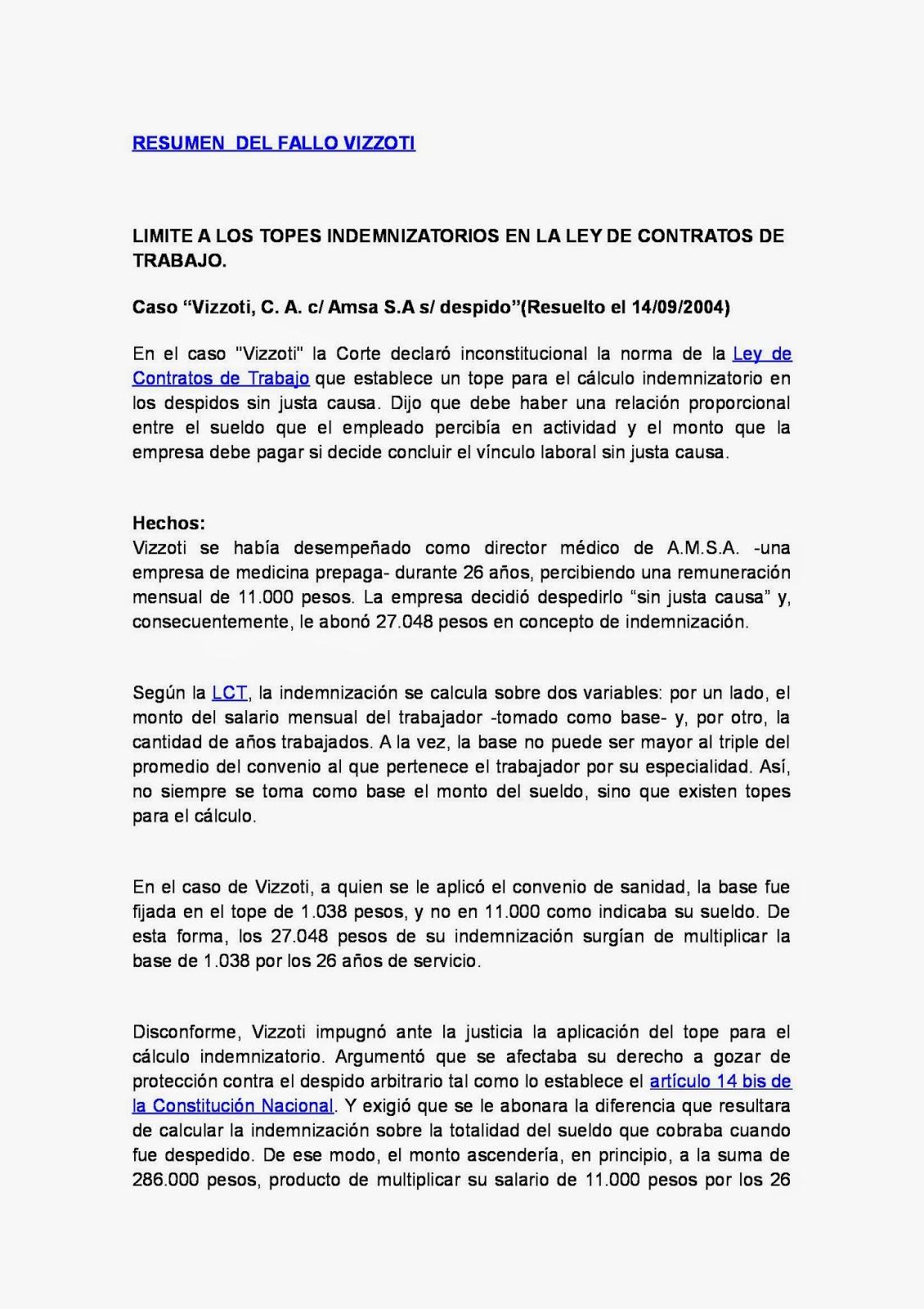 RESUMEN DE FALLOS: Resumen (síntesis) del fallo Vizzoti