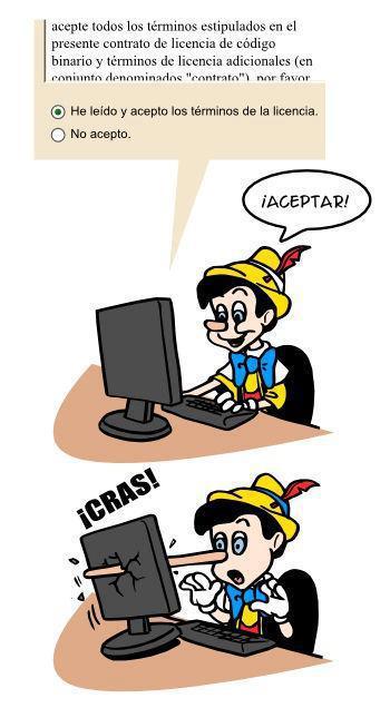 pinocho y los terminos de licencia humor geek