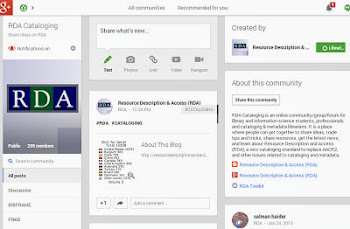 RDA Cataloging - Google+ Community