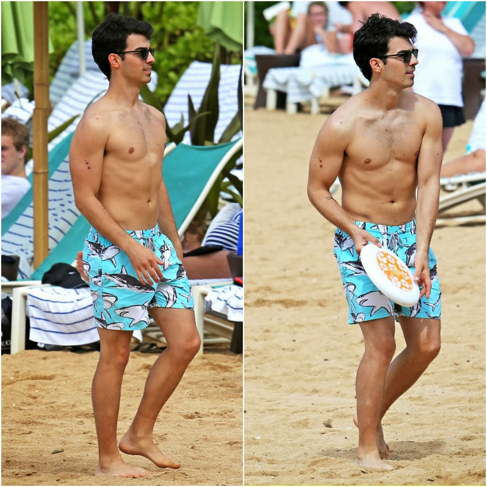 Joe Jonas in Vilebrequin MA'O MAURI SHARKS shorts - Hawaii Beach Style