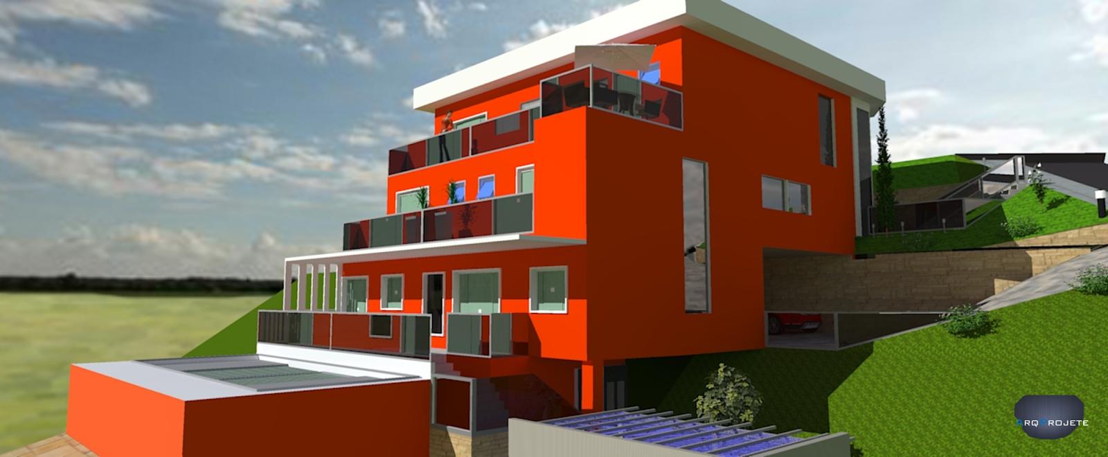 Seguindo oterreno, a residência está fixada em 5 níveis diferentes