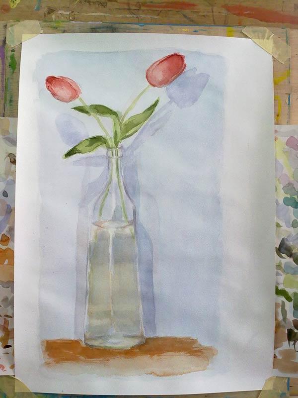 tulipanes pintados del natural en acuarela