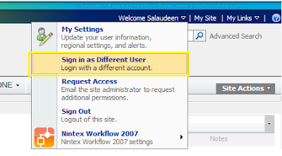 sharepoint sign in as another user