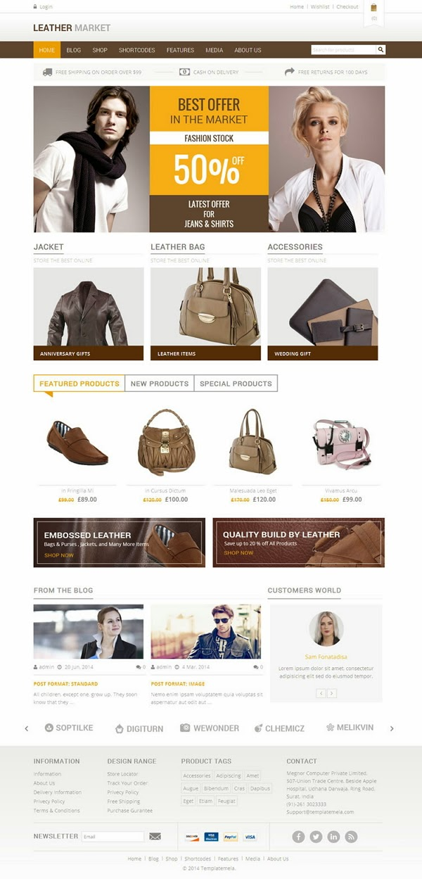 free woocommerce template