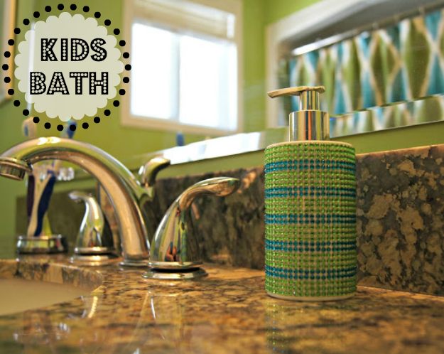 lime green bathroom decorated with kids in mind, ikat Target curtains