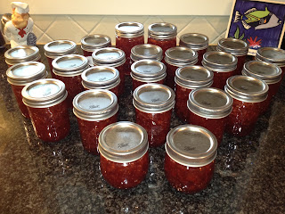 jars of homemade strawberry jam