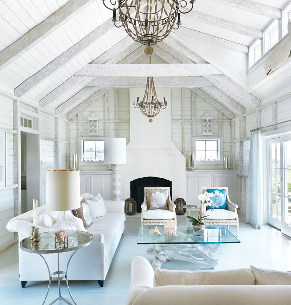 Lush fab glam blogazine spring decorating adding color to all white rooms Chic country house architecture with adorable interior design
